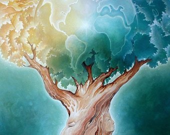 Earth Tree - 11 x 14 Tree of Life Art Print - Painting