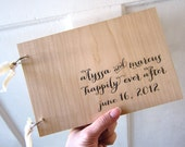 """Calligraphy Style Wedding Wood Guest book (9"""" x 6"""") - Happily Ever After - Custom Names and Date"""