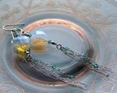 Elegant Earrings Dainty Icy Opalite Crystal and Sterling Silver Dangling Chain Earring