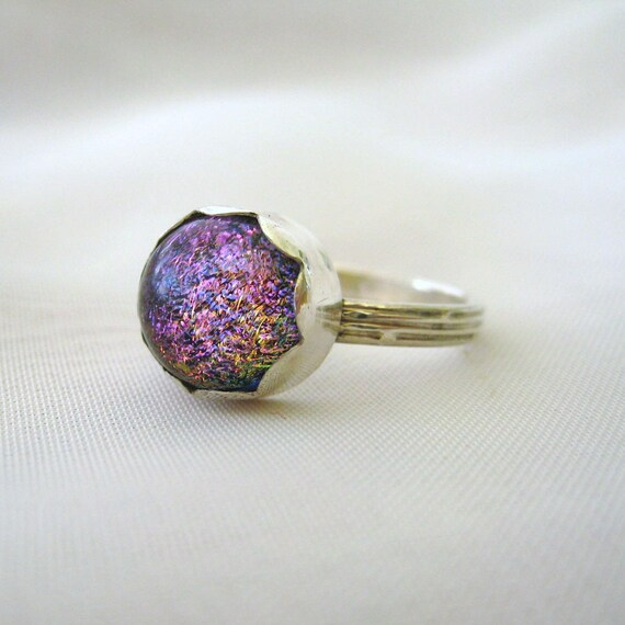 Dichroic Glass Handmade Ring Sterling Silver Sparkling Pink Blue Yellow Size 6.5