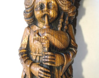 Angel Playing Bagpipes Reproduction Edwardian Carving