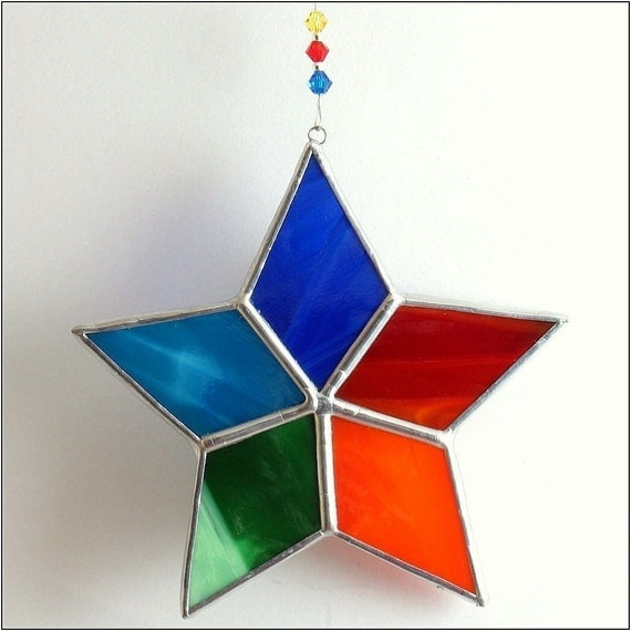 Superior Christmas Stained Glass Ornaments Part - 8: Rainbow Star Stained Glass Suncatcher, Christmas Tree Ornament And Window  Decoration