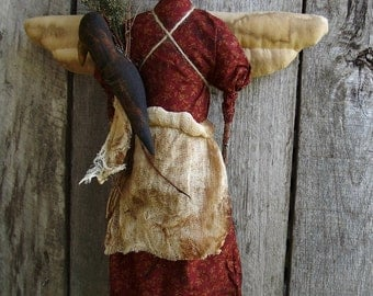 My Primitive ANGEL and the CROW instant Download pattern