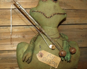 My Primitive Fly Fishing Frog Instant Download Pattern