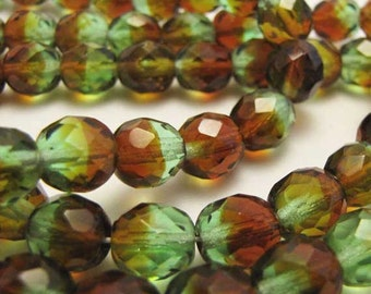 Green Brown Beads Faceted 8 mm Clear Green Brown Jewelry Bead Necklace Bracelet Jewelry Supply #134