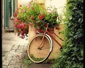 La Bicyclette aux Geraniums  -  8x8 Fine Art Print - Etsy Wall Art - TFTeam - MarcLoretPhotography