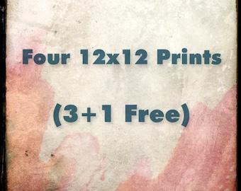 Four 12x12 Fine Art Prints - Your Choice - Custom Size Set - 3 plus 1 FREE - 25% OFF - Etsy Wall Art - TFTeam