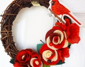 Embroidered Cardinal Felt Grapevine Wreath - Artist Collaboration