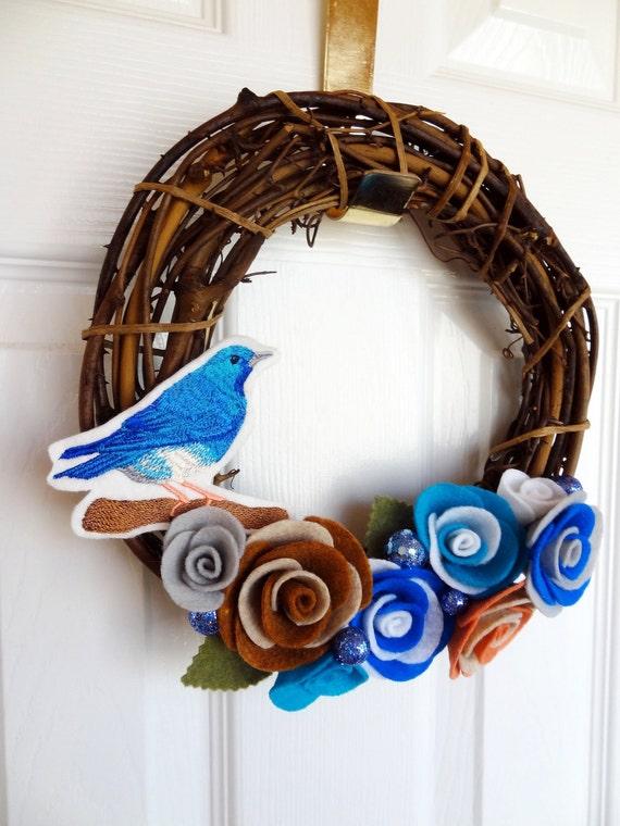 RESERVED-Artist Collaboration - Embroidered Bluebird Felt Grapevine Wreath