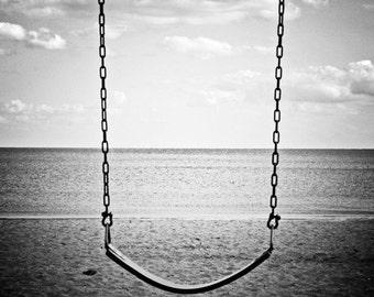"Beach Swing Overlooking Ocean - ""A Simpler Time"" - 10x10 Black and White Nautical Photo Print - Serene Minimal Seashore"