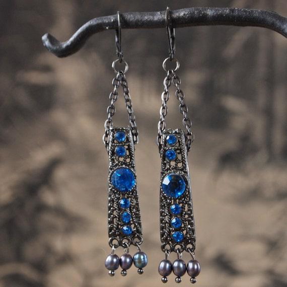OOAK Earrings Blue Glass, Peacock Pearls and Gunmetal Renaissance Chandelier Earrings