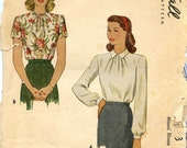 McCall's 5563 Size 12/Bust 32 Misses' Blouse in Two Styles with Back Buttons
