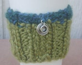 Coffee or Tea Sleeve-Cozy ribbed in apple green and teal with a pewter cup charm and its own pouch