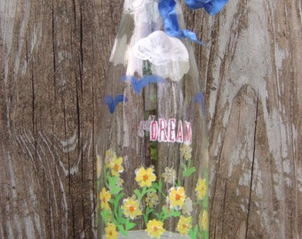 Dream 'n Play Painted Bottle Vase Upcycled  for Children's Mission Project - OOAK by an EtsyMom