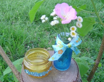 Blue Bejeweled Yellow Frost Candle Jar & Blue Beribboned Bud Vase for Children's Mission Project - OOAK Mother's Day