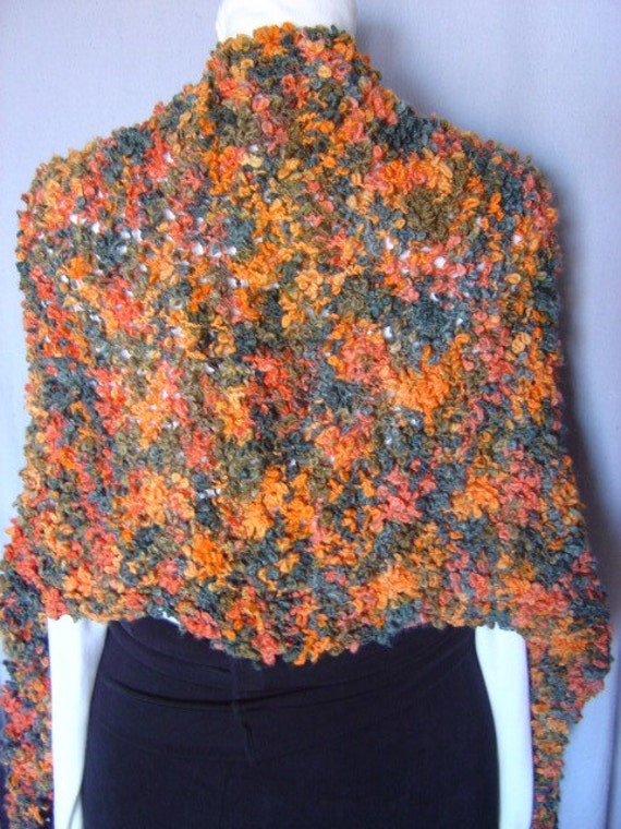 Shawl or Lap Blanket Double Knit Autumn Splendor Van Gogh - OOAK by an EtsyMom