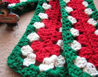Red, White and Green Scarflette,  Granny Length, Kid's Size Granny Square, Ready to Ship, CIJ