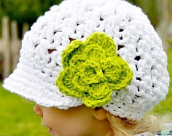 Crocheted White Visor Beanie with Detachable Flower, multiple sizes