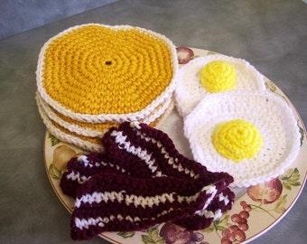 Amigurumi  Crochet Pancakes, Bacon and Eggs Breakfast  Childrens Kitchen Play Food