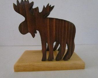 Wooden Moose Napkin Holder