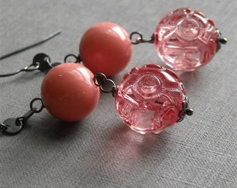 passionate kisses earrings - vintage lucite and sterling