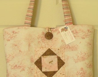 Quilted Diaper Bag In Shabby Chic Pink Toile-Shabby Baby- Pink Weekend Bag