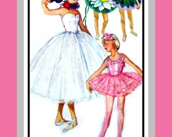 Vintage 195 -Sugar Plum Fairy Girls Ballerina Costume-Three Enchanting Styles-Sewing Pattern-Hat-Neck Ruffle-Uncut-Size 10-Rare -Collectible