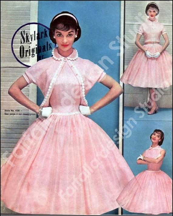 1950's Reproduction-  Ladies Fashion Catalog - Sexy Wiggle Dresses-Sweet Bouffant Frocks-Skylark Originals- PDF Download