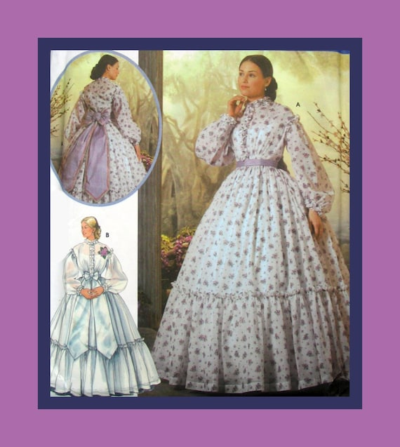 Belle Of The Ball- Civil War  Era- Party Gown-Lovely Design Details-Ruffles-Bows -Costume Sewing Pattern- Size 6-12-Uncut -OOP-Rare