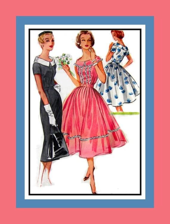 Vintage 1956- Flirty Full Skirted Twirl Dress- Sexy Wiggle Dress- Bateau Neckline -Sewing Pattern- Size 12 -Rare