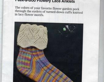 Lace Anklets Knitting Pattern Peek-a-Boo Flowery HeartStrings Pattern
