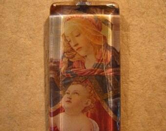 "30% OFF Renaissance ""Magnificat"" Sandro Botticelli Madonna Painting Large Rectangle Glass Pendant"