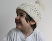 The Wee Folks Hat. Hand Knit Child's Hat with Pom Pom, in Merino Wool.