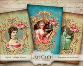 Printable download ROYAL PALACE Gift tags Digital Collage Sheet Greeting cards vintage ephemera paper print-it-yourself Art Cult goods