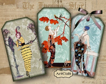 Printable FUN-FASHION TAGS Digital Collage Sheet Download Vintage Paper Craft Jewelry Holders Gift tags greeting cards Art Cult images
