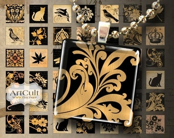 Digital Collage Sheet BLACK & GOLD TILES 1x1 inch Square Images Printable downloads for glass square pendants magnets paper scrapbook