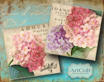 Printable download 3.8x3.8 inch HORTENSIA mages for Coasters Greeting Cards Magnets Gift tags Digital Collage Sheet decoupage shabby paper