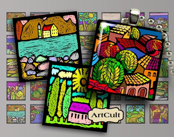 LANDSCAPE - 1x1inch images Digital Collage Sheet Printable Download for pendants magnets paper goods journaling