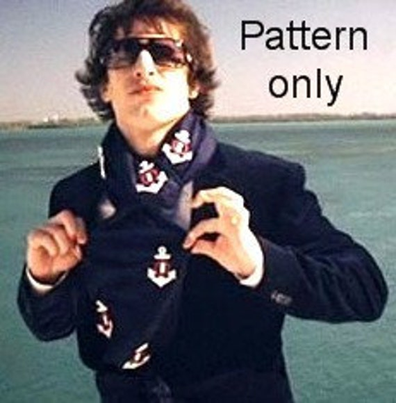 Crochet pattern (PDF) for nautical anchor scarf similar to one worn by Andy Samberg SNL