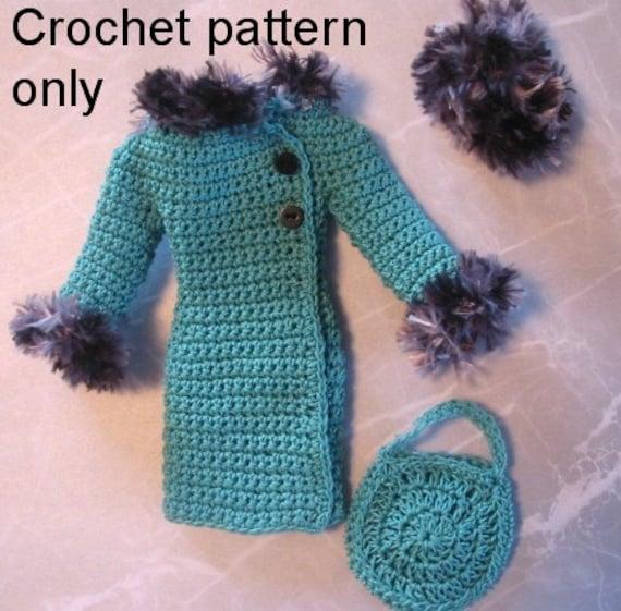 Free Crochet Patterns For Barbie Hats : Crochet pattern PDF for Silkstone Barbie doll 1960s Winter