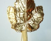 Gold Paper Leaves Vintage Metallic Gold Millinery Flower Grape Leaves Pressed Paper Wreath Millinery Corsage Supply DIY