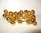 "CIJ Christmas Ornament Decoration 3/4"" Vintage Mercury Glass Bead Floral Arrangement Craft Picks 24 GOLD"
