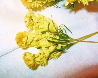 6 Millinery Flower VINTAGE HANDMADE 1950's Puffy Yellow Spike Hat  Corsage Making Supplies
