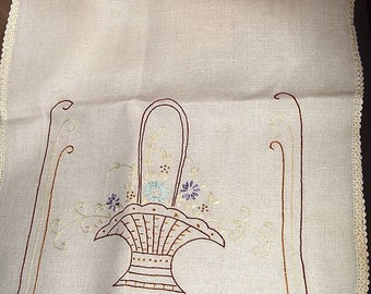 Vintage Doilie Embroiderd Table Dresser Runner  w/ Flower Basket Doily 42 inches long
