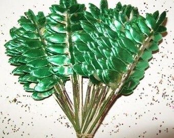 Metallic Foil on Paper Millinery Flower Fern Leaves Green Silver Corsage Wreath Pick Vintage Christmas Craft Supply