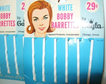 Vintage 1960's Bobby Pin Barrettes Hair Clip WHITE Bride,Nurse women accessories hair