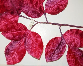 Vintage Millinery Flower Garnet Red and Plum Purple Velvet Rose Leaves JAPAN for Hat Corsage Crafts