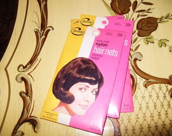 9 Vintage Hair Net GOODY Millinery Vanity Display Mesh Snood Dark Brown