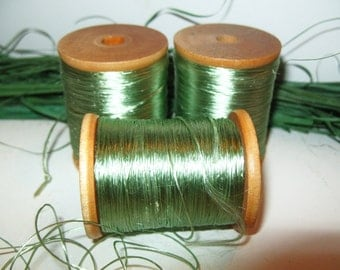 3 Wooden Spool of Thread Celadon Green Silk VINTAGE Embroidery Floss, Lace Tatting Thread Bead Cord