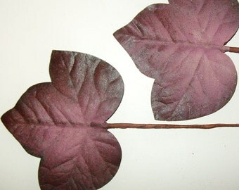 Vintage Millinery Flower FIG LEAVES Plum Pink Handpainted Fascinator Hat Trim Supplies